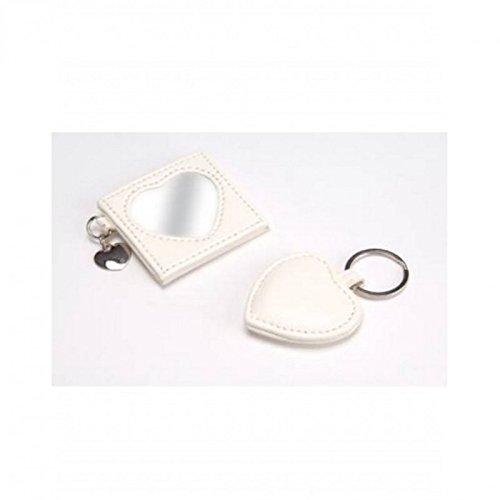 Amadeus White Hearts Keychain Pocket Mirror wHr0HWqRa