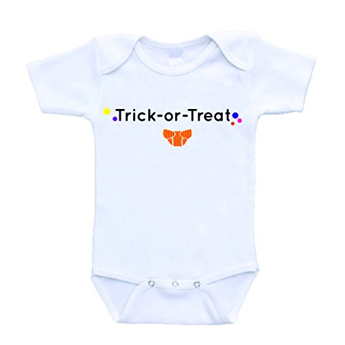 Halloween Trick or Treat Funny Baby Onesies Bodysuits Diaper Joke One Piece (6 Months)