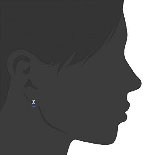 Jewelili - Parure - Argent 925 - Saphir - Diamant - 107546Z/STGSIL/RDS4/T1/SIL030RLO/STD