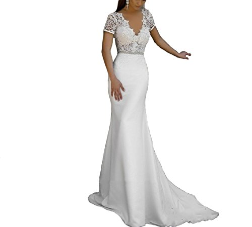 Train Short Sleeve Satin (Short Sleeves Satin Mermaid Wedding Dresses Mermaid Ivory Lace Long Wedding Gowns US22 Plus)