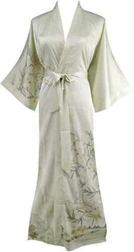 - Ledamon Women's Silk Satin Kimono Long Robe - Classic Floral Nightgown Bathrobe Sleepwear (Soy Color)