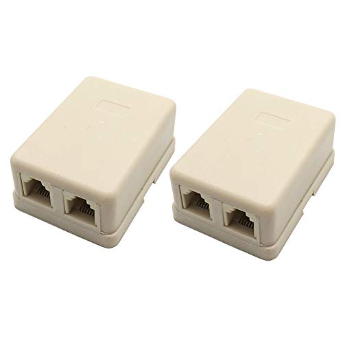 BTMB 2 Pcs 2 Way Surface Mount Telephone Cable Plug Dual Telephone Jack 4 Conductor Modular