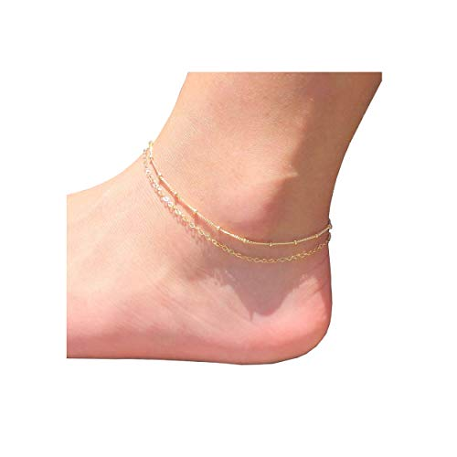 - Beads Dainty Anklet Women,14K Gold Plated Dainty Cute Summer Double Layered Beads Chain Ankle Bracelet Boho Beach Foot Chain