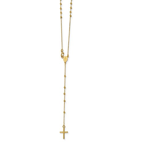 Yellow Gold Rosary Ring - Mia Diamonds 14k Yellow Gold Polished Rosary Necklace