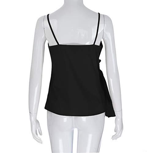 BAOHOKE Summer Fashion Casual Sleeveless Crop Solid Bandage Tops,Vest Sling,t Shirt Tops Blouse v Neck (Black,XXL) by BAOHOKE (Image #4)