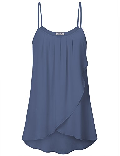 Youtalia Womens Sleeveless Tunics Summer O Neck Top Pleated Cami Shirt, BGY ()