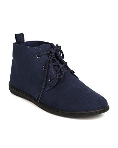Refresh FH51 Women Faux Suede Round Toe Lace Up Desert Bootie - Navy (Size: 8.0)