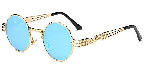 las XFentech de gafas los Steampunk hombres Dorado Azul sol de para metal del Marco redondas espejo inspiró Retro y las lente del círculo mujeres qIwnIrYX