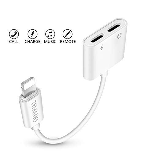 TYMANO iPhone Dual Lightning Adapter Splitter, 2 in 1 Headphone Audio Jack and Charge Cable Adapter for iPhone X/8/8 Plus/7/7 Plus