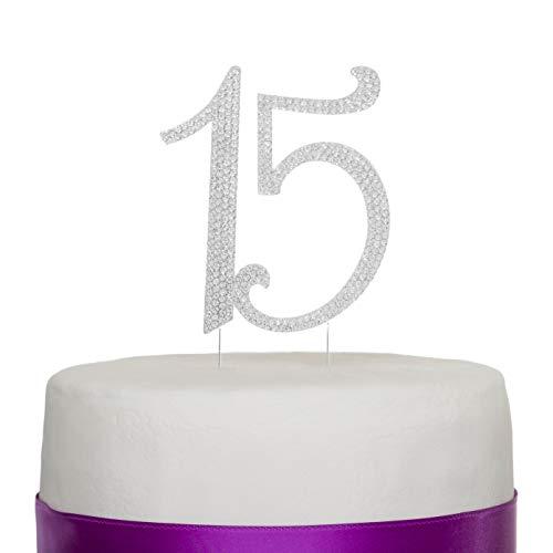 Ella Celebration 15 Cake Topper 15th Birthday Anniversary Quinceañera Party Supplies Rhinestone Number Decoration (Silver) ()