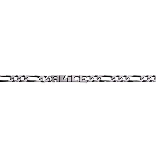"""Altesse [N7846] - Gourmette argent """"Prénom Découpé"""" - 20 cm 6 mm (vieilli)"""