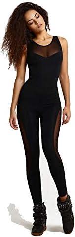レディースジャージ上下セット 女性のフィットネスタイツメッシュステッチヨガスポーツジャンプスーツ (色 : ブラック, サイズ : M)