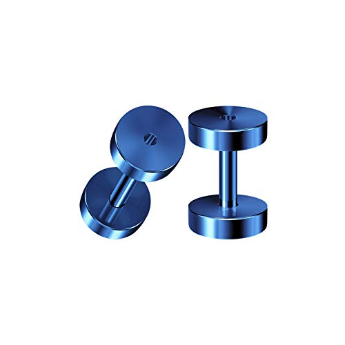- BIG GAUGES Pair of Stainless Steel 14g Gauge 1.6mm Dark Blue Anodized Screw Flesh Tunnels Piercing Stretcher Ear Ring Lobe Plugs BG3798