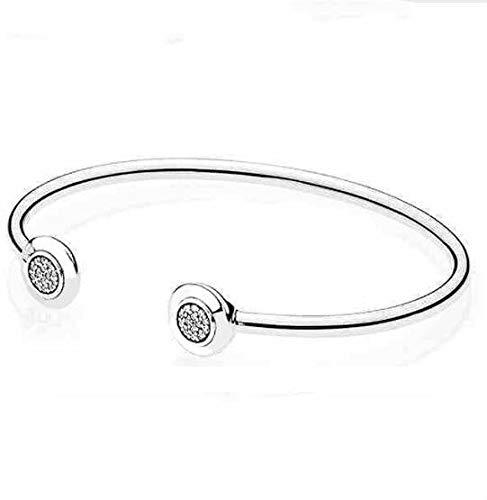 - Authentic 925 Sterling Signature with Crystal Open Pan Bracelet Bangle | Fit Women Bead Charm Europe Jewelry (16cm)