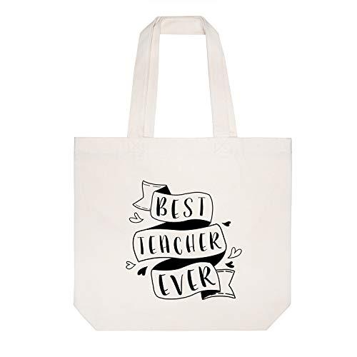 ElegantPark Best Teacher Ever Canvas Tote Bag Cotton Shoulder Bag for Teacher Gifts Large Reusable Shopping Tote Bag with Interior Pocket (Best Teacher Bag Ever)
