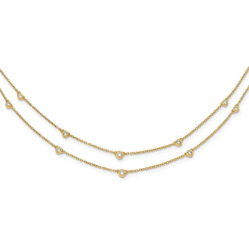 14k Diamond Multi Station Double Strand Necklace, Length: 18 in, 14 kt Yellow ()