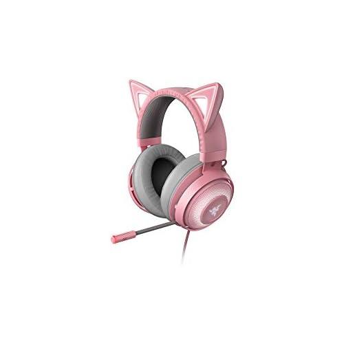 chollos oferta descuentos barato Razer Kraken Kitty Auriculares para juegos tipo oreja de gato con iluminación cromática RGB micrófono con reducción activa de ruido audio espacial THX controles en el auricular Rosa Quartz