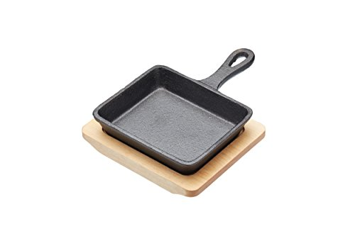 Master Class 12.5 cm Cast Iron Mini Sizzle Pan with Maple Wood Serving Board by KitchenCraft