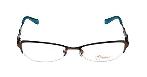 Thalia Edita WomensLadies Ophthalmic Unique Design Designer Half-rim Spring Hinges EyeglassesSpectacles (50-17-130 Brown  Blue)