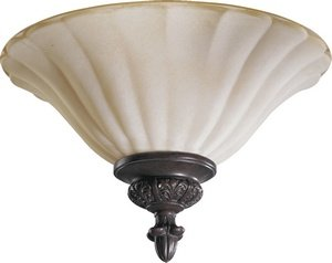 Etruscan Bronze 2 Light (Quorum Coronado - Two Light Flush Mount 3095-13-38, Gilded Bronze Finish with Etruscan with Amber Accent Glass)