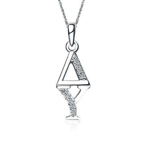 Delta Upsilon Sweet Heart Vertical Silver Necklace with a 18″ Silver Chain (DU-P001)