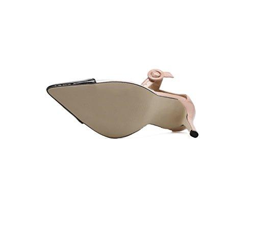Mosaico Señaló Liangxie de Tacón Talón apricot Puro Black Sandalias Sandalias Hueco Con cómodo Alto Las Zhhzz Mujeres Color Película De Moda Finas zxw0SzOAq