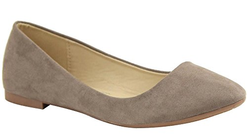 Bella Marie Womens Colorful Pointed Toe Ballet Flat Taupe qqPF69GcOi