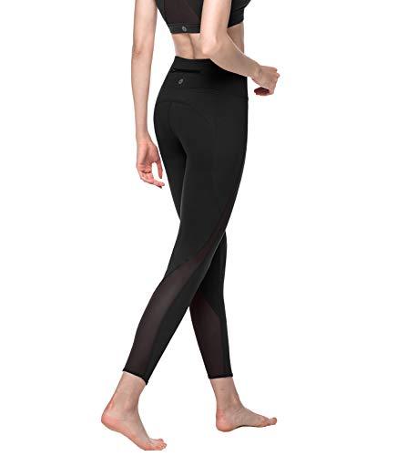 LAPASA Airy Sports Women's Leggings, Micro-Perforated Mesh, Back Zipper Pocket, High Waist Tummy Control Band L22 ()