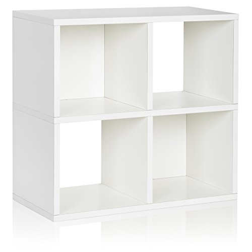 Way Basics Eco 4 Cubby Bookcase, Stackable Organizer and Storage Shelf, White (made from sustainable non-toxic zBoard (Basic Side Load Stackable)