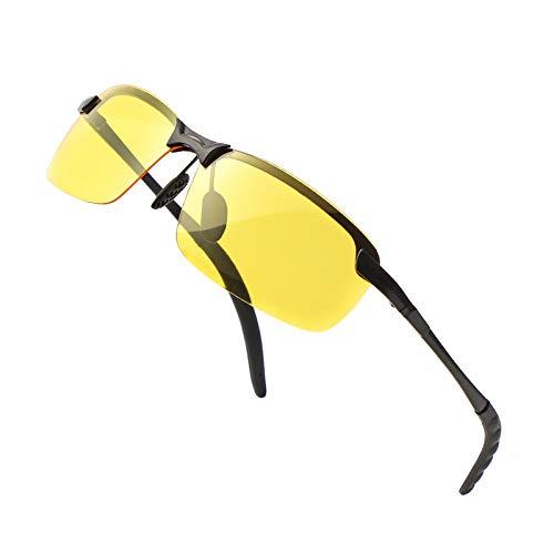 Rectangular Sunglasses for Men Women-Polarized Rimless Stylish Unisex Driving Sun Glasses (yellow(night vision))