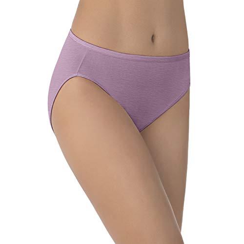 Satin Spandex Briefs - Vanity Fair Women's Illumination Hi Cut Panty 13108, Serene Mauve, 3X-Large/10