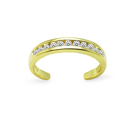 Yellow Gold Flashed Sterling Silver Channel Cubic Zirconia CZ Sparkling Adjustable Toe Ring