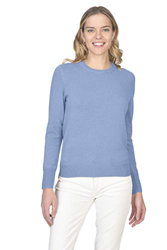 State Cashmere Women's 100% Pure 2-Ply Cashmere Long Sleeve Pullover Crew Neck Sweater (Baby Blue, Small)
