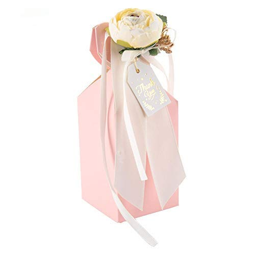 TOPINCN 25pcs Candy Gift Box Wedding Favor Boxes Chocolate Boxes Fake Flower Ribbon for Bridal Shower Birthday Party Supplies(Pink)