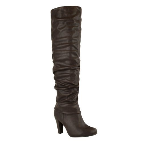 LADIES WOMENS OVER THE KNEE THIGH HIGH BLOCK CHUNKY MID HEEL RIDING BOOTS SHOES Brown Faux Leather