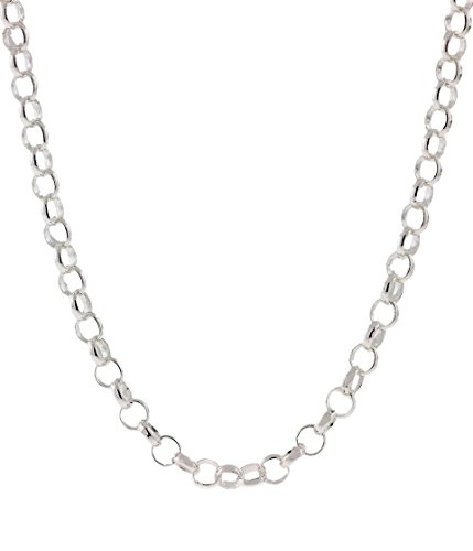 925 Sterling Silver Nickel-Free 3.2MM Rolo Round Cable Link Chain-Made in Italy-Multiple Sizes Available-7.55