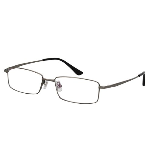 EyeBuyExpress Titanium Rectangle Gun Reading Glasses Magnification Strength 2 by EyeBuyExpress