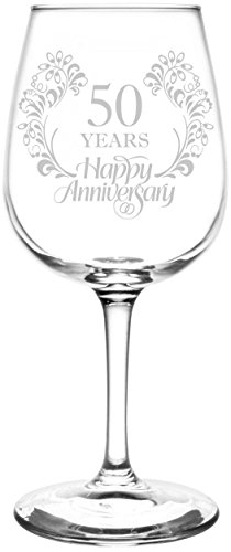 (50th) Beautiful & Elegant Floral Happy Anniversary Wedding Ring Inspired - Laser Engraved 12.75oz Libbey All-Purpose Wine Taster Glass (50th Wedding Anniversary Poem)