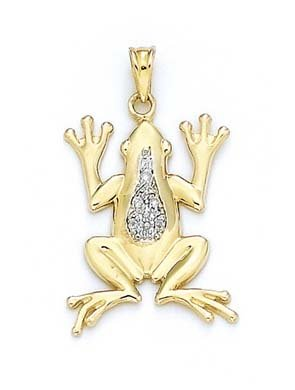 14 carats-Pendentif grenouille JewelryWeb diamants bruts