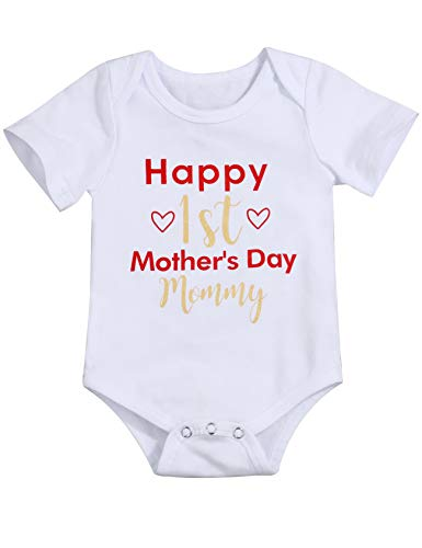 Happy 1st Mother's Day Outfit Newborn Baby Boy Girl Mommy Bodysuit Short Sleeve Onesies Romper(9-12m/100) -