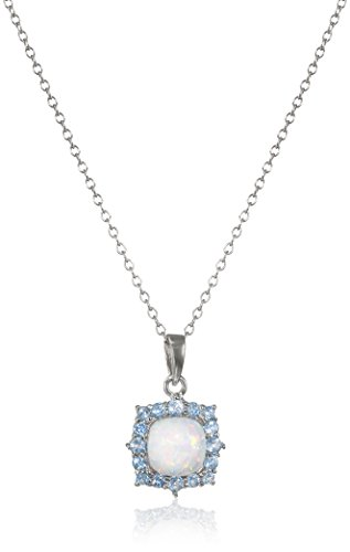 (Rhodium Plated Sterling Silver Cushion Created Opal 7mm and Round Swiss Blue Topaz Pendant Necklace, 18