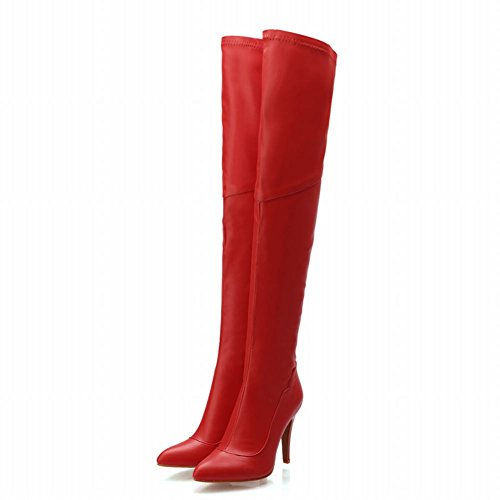 Latasa Womens Fashion Solid Color Leather Zipper Pointed-toe High Heel Over-the-knee Dress Boots Red KY3aRLbZJ1