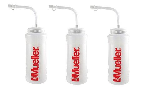 Natural Color Straw - Mueller Quart Bottle w/ Straw (New Design), Natural Color w/ Red Letters (3-Pack)
