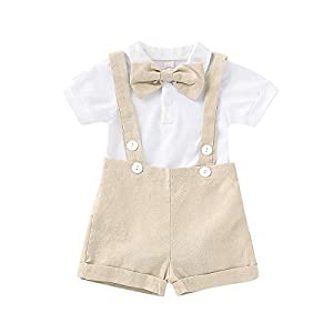 Baby Boys Gentleman Formal Outfits Set Romper with Tie and Overalls Bib Pants Wedding Tuxedo Outfits