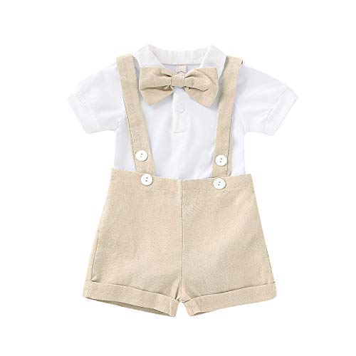 Gentleman Outfits Set for Baby Boys Short Sleeve Romper with Tie and Overalls Bib Pants Clothing Set (Beige, 0-6 Months) -
