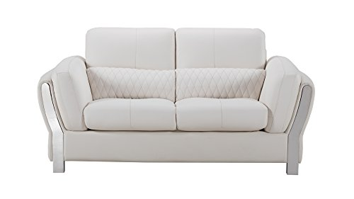 American Eagle Furniture Chelsea Collection Modern Living Room Leather Upholstered Loveseat With Tufted Waist, White