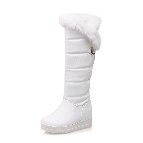 AllhqFashion Damen Blend-Materialien Rund Zehe Ziehen auf Stiefel Weiß