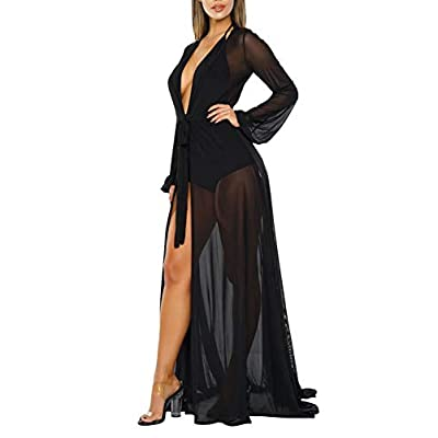 Women's Sexy Thin Mesh Long Sleeve Tie Front Swimsuit Swim Beach Maxi Cover Up Dress at Women's Clothing store