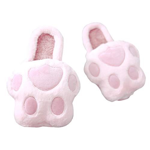 40 Intérieur HUYP Chaussons Dames Gray Pink Coton Couleur Hiver Fond Épais en Antidérapant Pantoufles Maison Mignon À Taille 7awxdR7