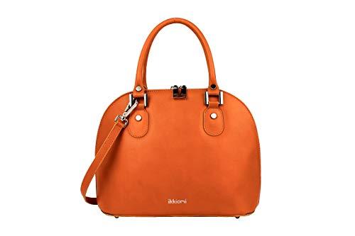 ikkiomi Domed satchel La.0906 Chrome Leather Pure Color yellow hand Bag Orange